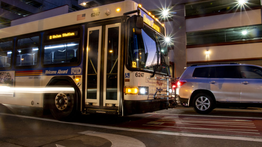The RTD bus lane on 15th Street downtown. Nov. 5, 2019. (Kevin J. Beaty/Denverite)