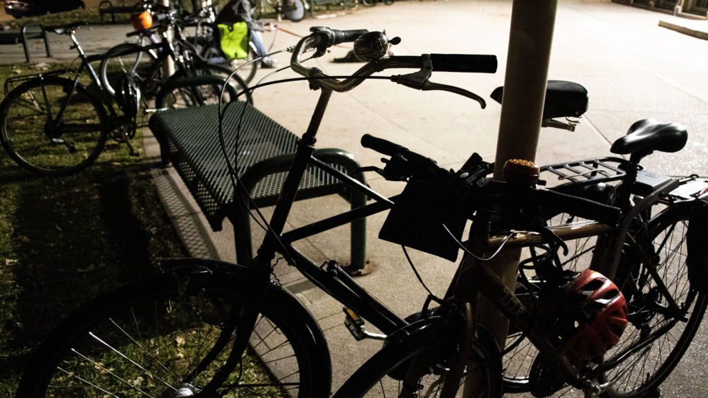 Bikes parked outside of Steele Elementary School during a public meeting about bike lanes on South Marion Parkway, Nov. 7, 2019. (Kevin J. Beaty/Denverite)