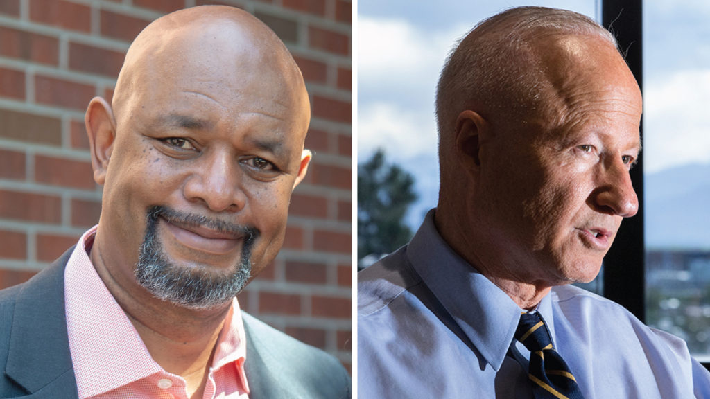 Aurora mayoral candidates Omar Montgomery (left) and Mike Coffman. (Courtesy photo and photo by Kevin J. Beaty/Denverite)