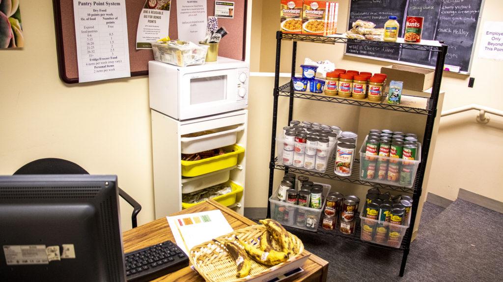 The supply shelf at the Roadrunner Food Pantry at Metro State University's Tivoli Student Union. Nov. 7, 2019. (Kevin J. Beaty/Denverite)
