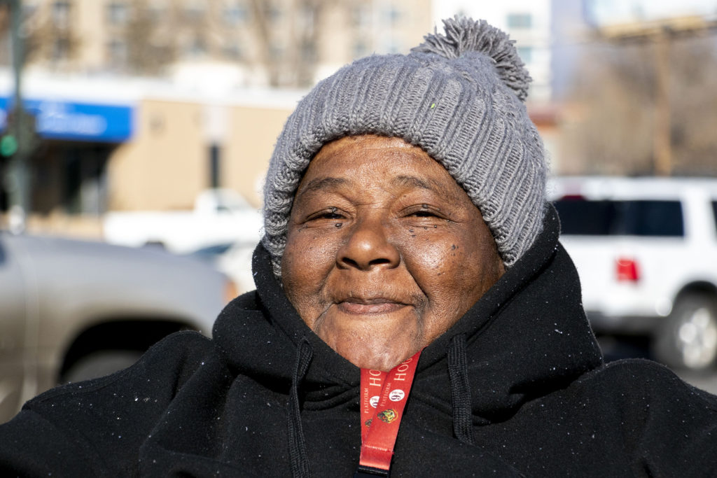 Cynthia Mickens poses for a portrait along Federal Boulevard, Nov. 7, 2019. (Kevin J. Beaty/Denverite)