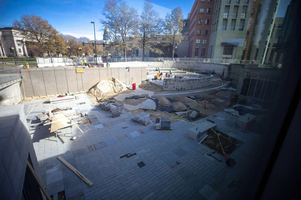 Work on the Denver Art Museum's new courtyard, Nov 13, 2019. (Kevin J. Beaty/Denverite)