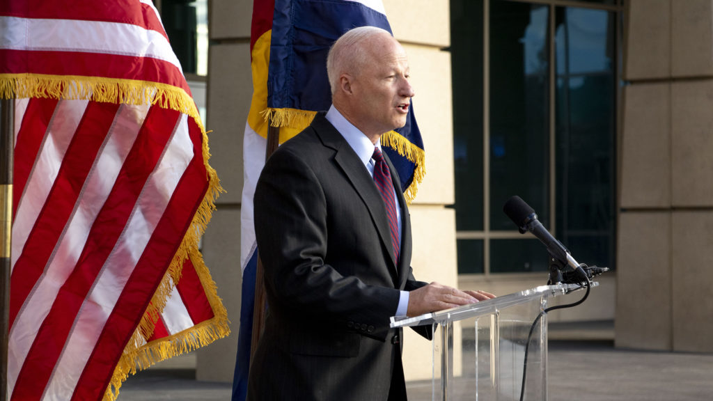 Mike Coffman makes a victory speech for his run at the Aurora mayor's office on the steps of the city's municipal building. Nov. 14, 2019. (Kevin J. Beaty/Denverite)