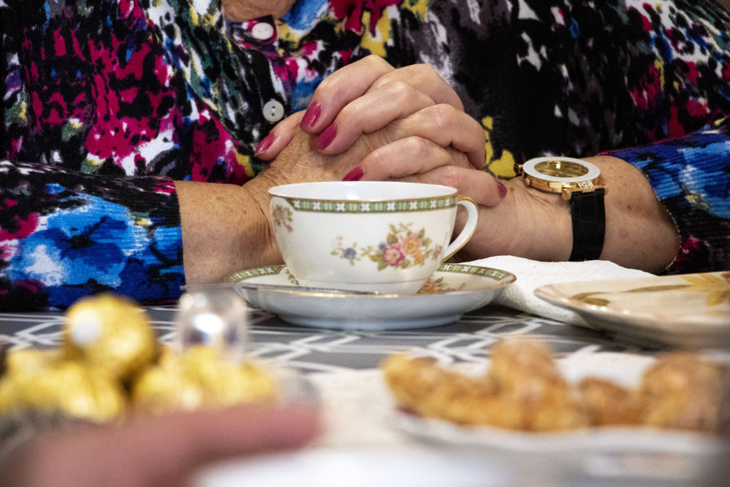 Tea time at Simon Kaganov's and Alla Sheherbi's home at Windsor Gardens, Nov. 16, 2019. (Kevin J. Beaty/Denverite)