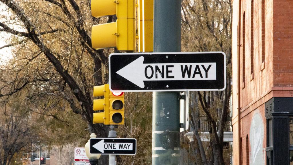 One-way streets, uptown. Nov. 19, 2019. (Kevin J. Beaty/Denverite)