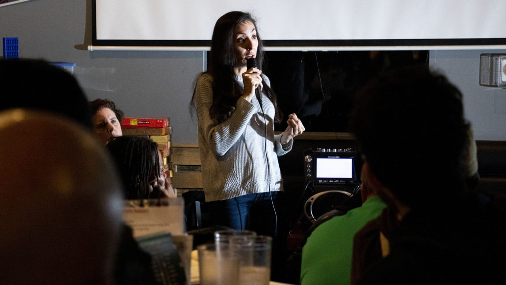 District 9 City Councilwoman Candi CdeBaca holds a meeting on homelessness at Jack Rabbit Slims in Cole, Nov. 21, 2019. (Kevin J. Beaty/Denverite)