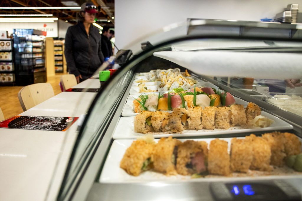 One Two Three Sushi's station inside Leevers Locavore Northside on 38th Avenue, Nov. 20, 2019. (Kevin J. Beaty/Denverite)