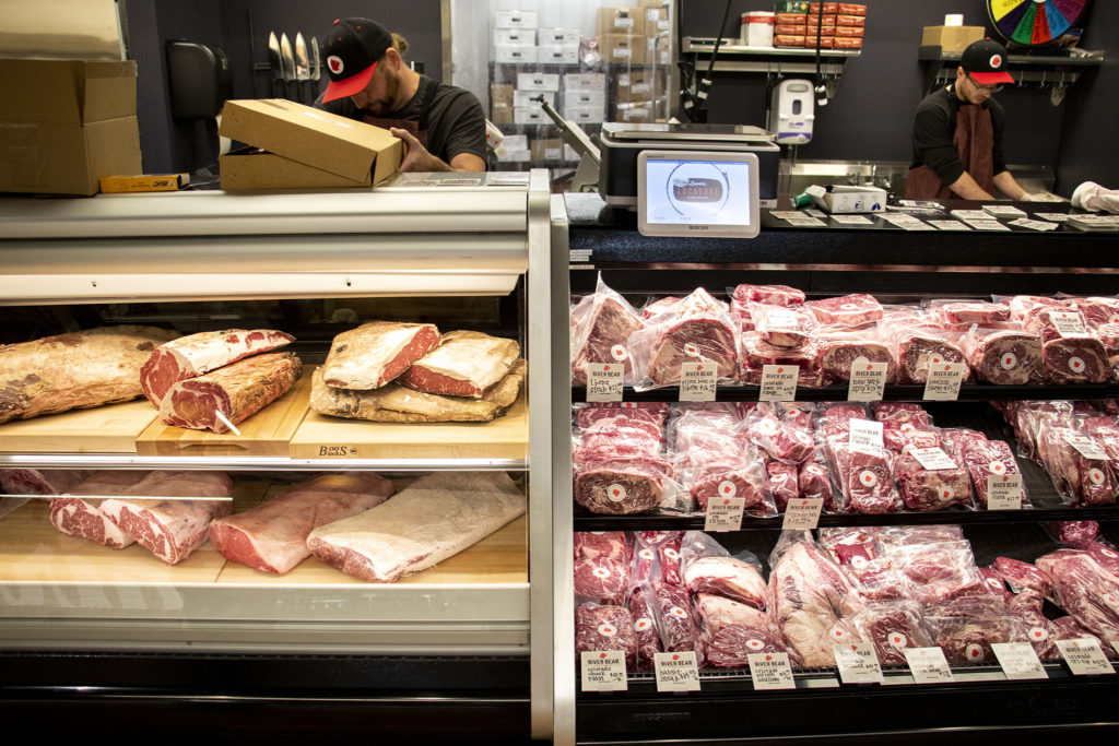 River Bear American Meats' first brick-and-mortat location, here inside Leevers Locavore Northside on 38th Avenue. Nov. 20, 2019. (Kevin J. Beaty/Denverite)