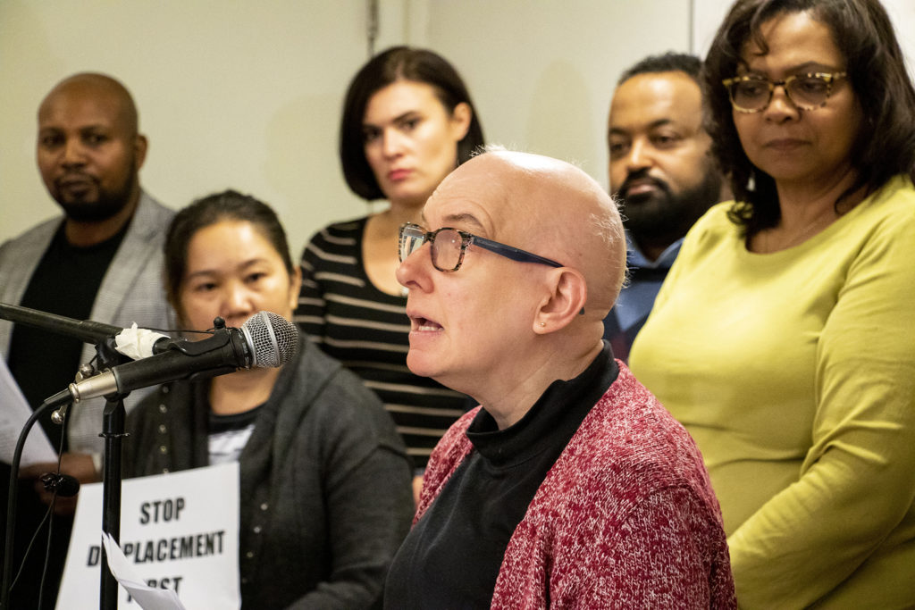 Dawn Howard, representing the Colorado Cross Disability Coalition, speaks during a East Colfax Community Collective press conference announcing their inception, Nov. 21, 2019. (Kevin J. Beaty/Denverite)