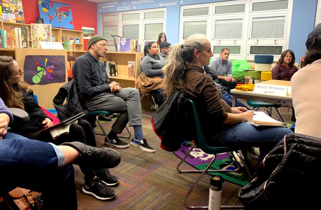 West Area Plan steering committee members during a meeting on Thursday, Nov. 21, at Cowell Elementary School in west Denver. (Esteban L. Hernandez/Denverite)