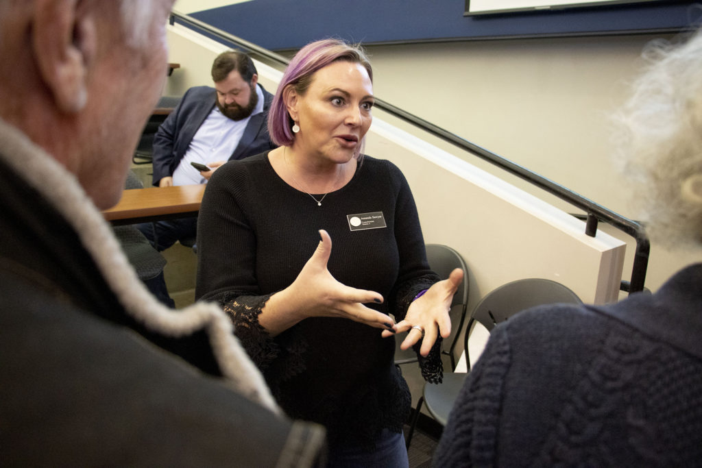 City Councilwoman Amanda Sawyer speaks to people in attendance at a meeting about Denver's East Area Plan at Johnson and Wales' campus in South Park Hill, Nov. 23, 2019. (Kevin J. Beaty/Denverite)
