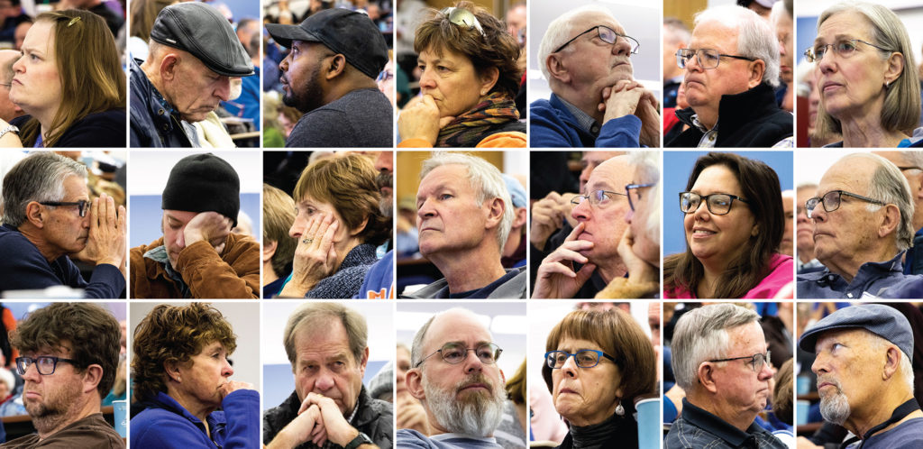 A sampling of the crowd at a meeting for Denver's East Area Plan at Johnson and Wales' campus in South Park Hill, Nov. 23, 2019. (Kevin J. Beaty/Denverite)