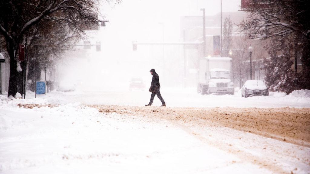 A snowy day over Colfax Avenue, Nov. 26, 2019. (Kevin J. Beaty/Denverite)
