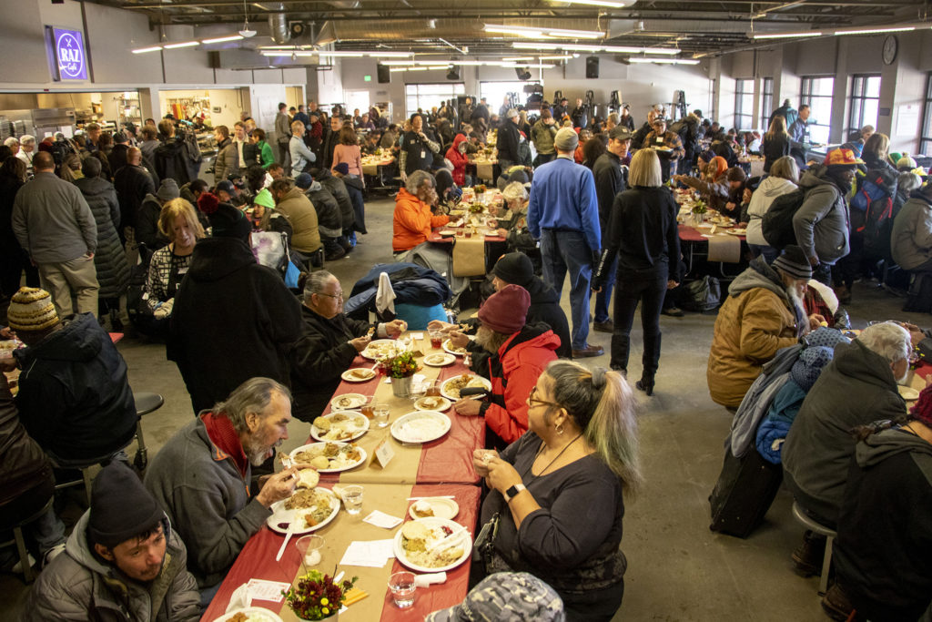 A Thanksgiving feast at the Denver Rescue Mission, Nov. 27, 2019. (Kevin J. Beaty/Denverite)