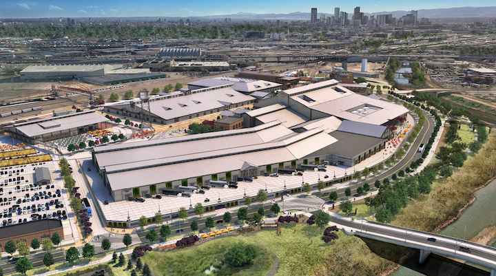 A bird's eye view rendering of the National Western Center, looking south. (Courtesy, City and County of Denver)