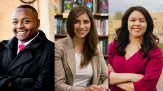 Tay Anderson, Natela Manuntseva, and Alexis Menocal Harrigan are seeking the at-large seat on the Denver school board. (Courtesy photos)