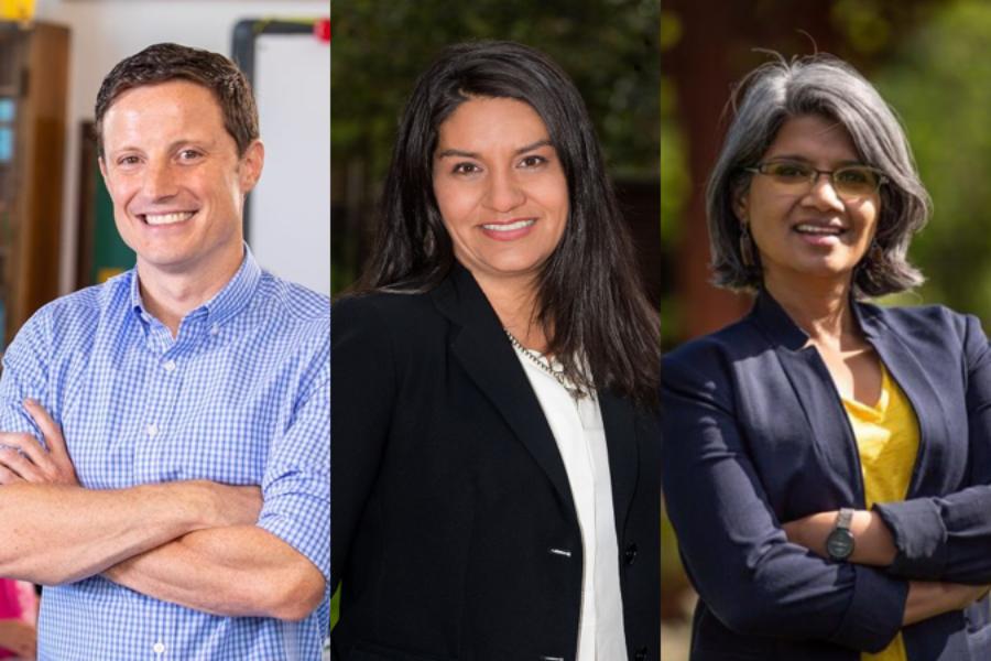 Scott Baldermann, Diana Romero Campbell, and Radhika Nath are seeking the District 1 seat on the Denver school board. (Courtesy photos)