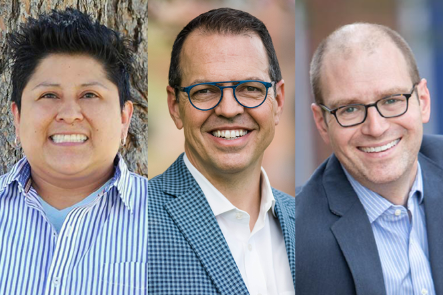 Julie Bañuelos, Tony Curcio, and Brad Laurvick are running to represent District 5 on the Denver school board. (Courtesy photos)