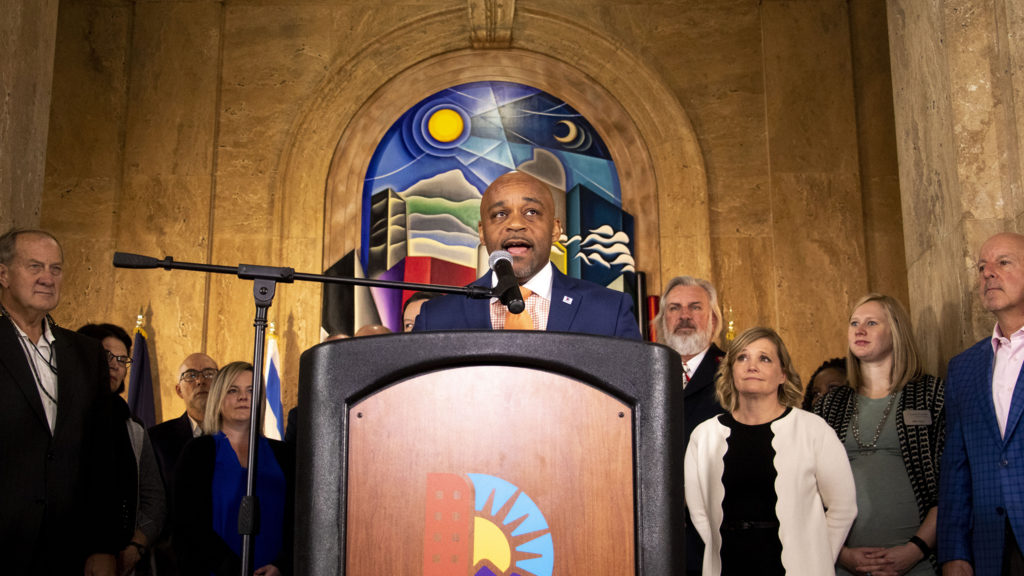 Mayor Michael Hancock announces improvements to services for people experiencing homelessness. Dec. 4, 2019. (Kevin J. Beaty/Denverite)