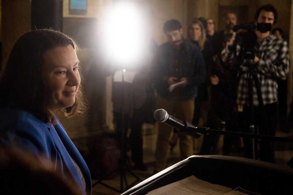 Britta Fisher, chief housing officer at Denver's Office of Economic Development, announces improvements to services for people experiencing homelessness. Dec. 4, 2019. (Kevin J. Beaty/Denverite)