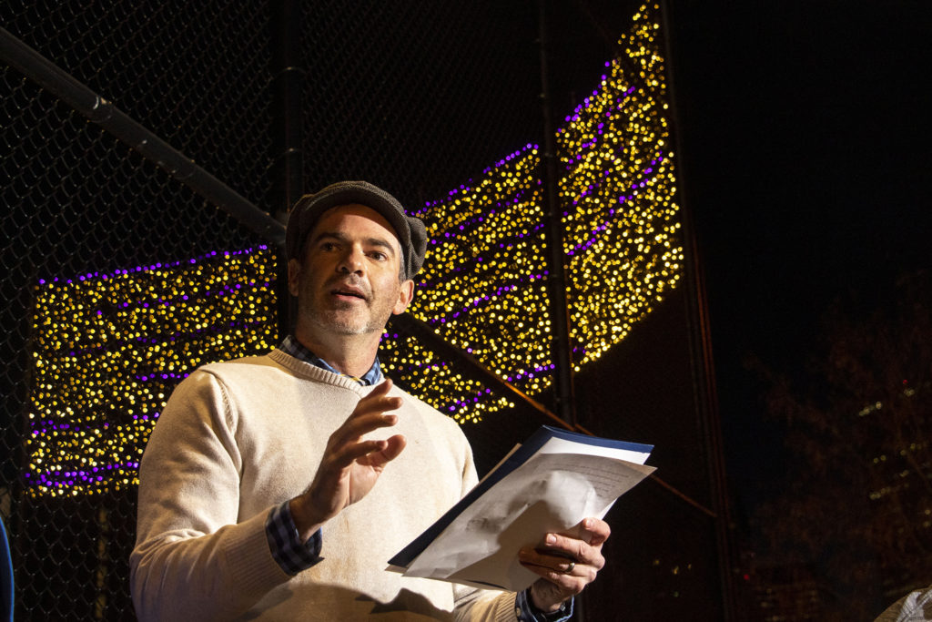 Chris Conner, head of Denver's Road Home, speaks after lights above Sonny Lawson Park in Five Points were illuminated to represent people counted in the 2019 annual Point In Time survey of homelessness in Denver. Dec. 4, 2019. (Kevin J. Beaty/Denverite)