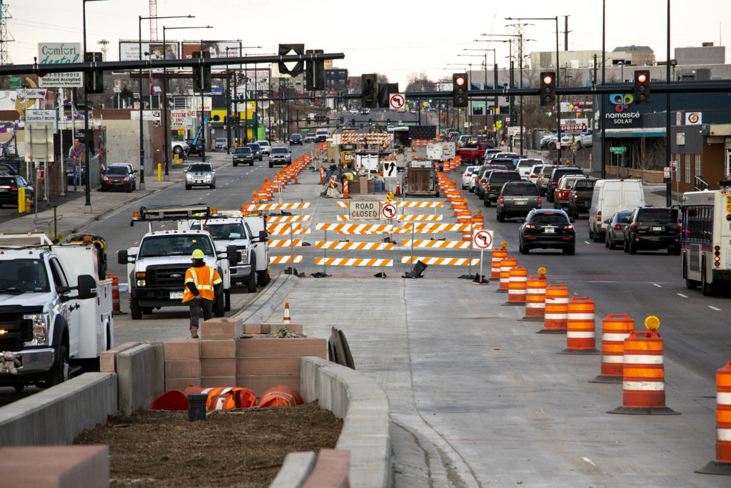 Construction is ongoing on Federal Boulevard north of 7th Avenue. Dec. 14, 2019. (Kevin J. Beaty/Denverite)