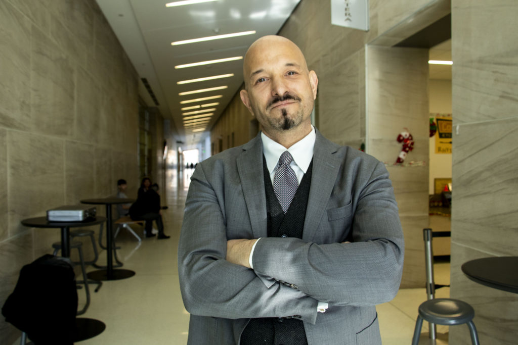 Attorney Jason Flores-WIlliams poses for a portrait inside the Lindsey Flanigan Courthouse. Dec. 18, 2019. (Kevin J. Beaty/Denverite)