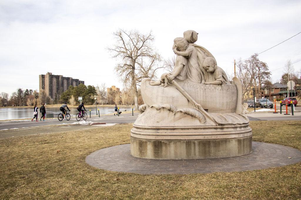 """Wynken, Blynken and Nod,"" a sculpture on Washington Park's east side. Dec. 19, 2019. (Kevin J. Beaty/Denverite)"