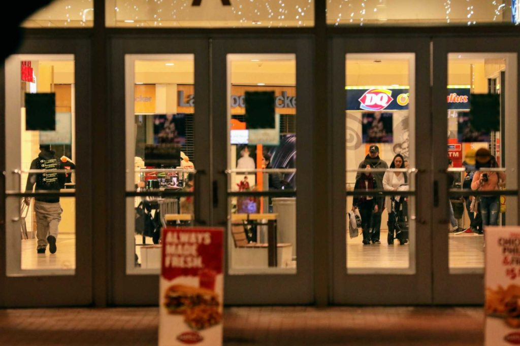 The Town Center at Aurora mall remains open as police investigate a shooting. (Kevin J. Beaty/Denverite)