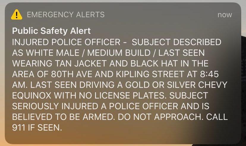 A screenshot of an emergency alert sent Wednesday, Dec. 18, in Denver. (Francie Swidler/CPR News)