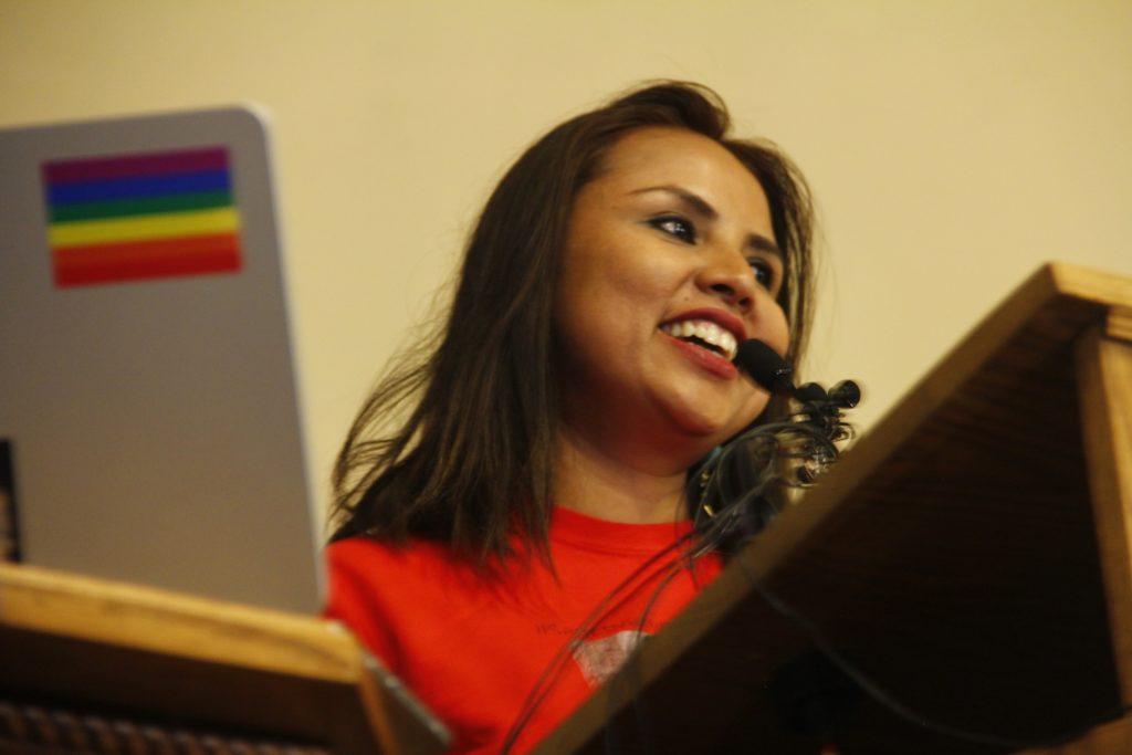 Ingrid Encalada Latorre looks on during a press conference on Monday, Dec. 23, at the Unitarian Universalist Church of Boulder. (Esteban L. Hernandez/Denverite)