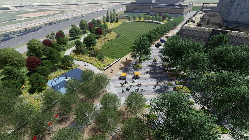 A rendering showing Vanderbilt East Park looking northwest. (Image courtesy of Matrix Design Group)