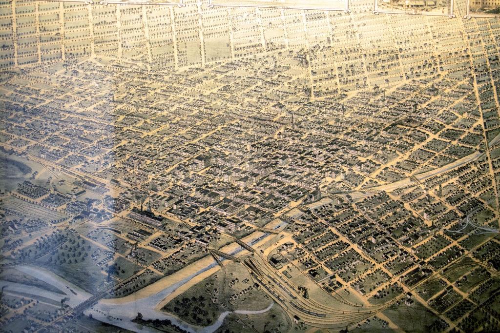 An 1882 aerial map of Denver in Wesley Brown's collection. Dec. 16, 2019. (Kevin J. Beaty/Denverite)