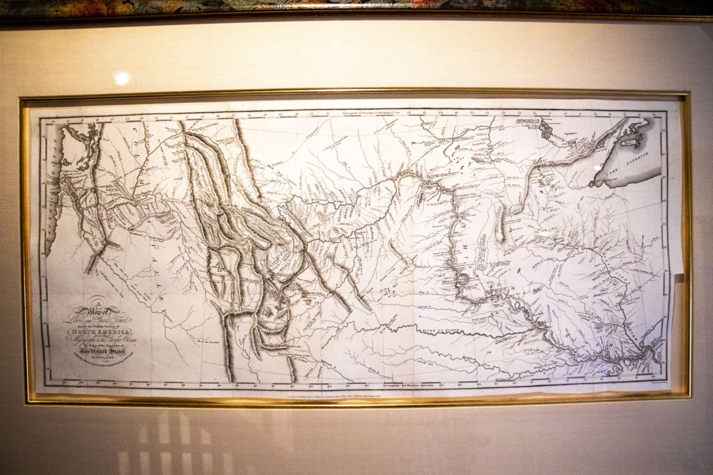 """A """"very rare"""" printed copy Lewis and Clark's  1814 map of the American west in Wesley Brown's collection. Dec. 16, 2019. (Kevin J. Beaty/Denverite)"""