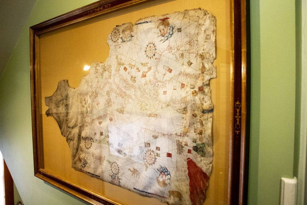 A mariner's map of the Mediterranean Sea, drawn by hand on sheep hide, in Wesley Brown's collection. Dec. 16, 2019. (Kevin J. Beaty/Denverite)