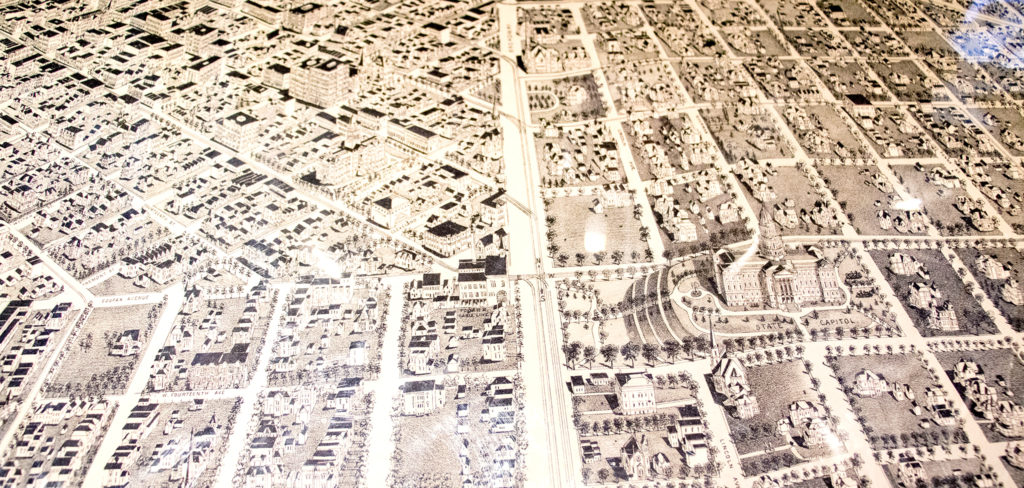The State Capitol faces the wrong direction in this 1889 aerial map of Denver in Wesley Brown's collection. Dec. 16, 2019. (Kevin J. Beaty/Denverite)
