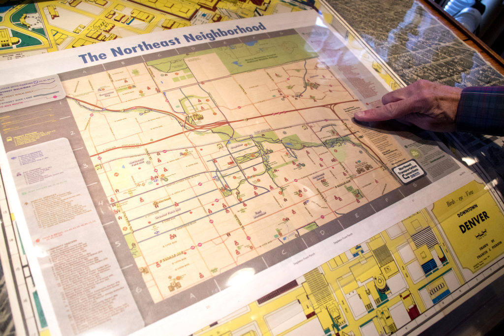 """""""The Northeast Neighborhood"""" map from 2015 in Wesley Brown's collection. Dec. 16, 2019. (Kevin J. Beaty/Denverite)"""