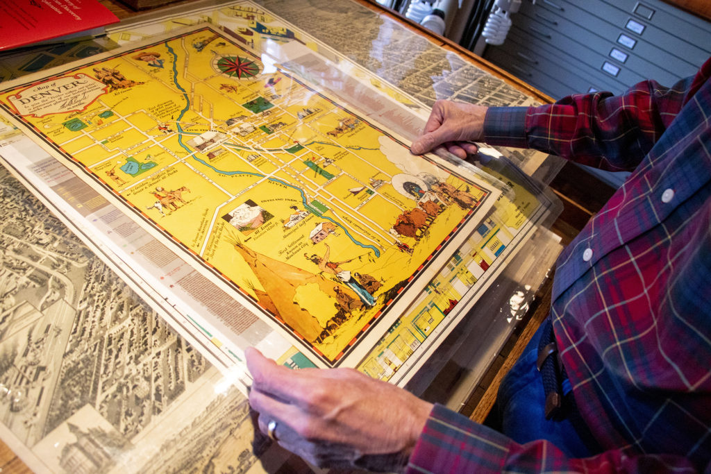 A Denver landmark map dating to the 1930s, during Mayor George Begole's time in office, in Wesley Brown's map collection. Dec. 16, 2019. (Kevin J. Beaty/Denverite)