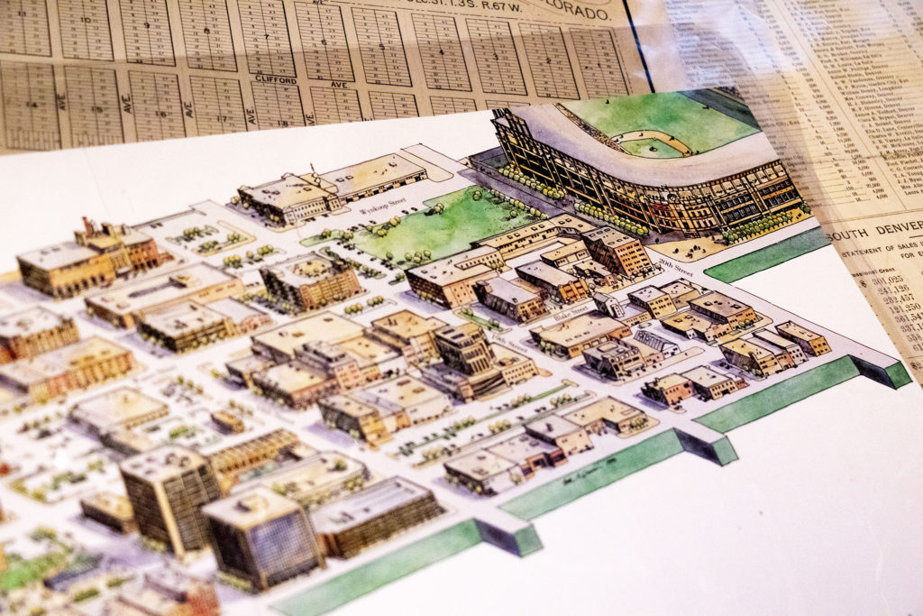 A future ballpark featured in a development map of Lower Downtown in Wesley Brown's collection. Dec. 16, 2019. (Kevin J. Beaty/Denverite)