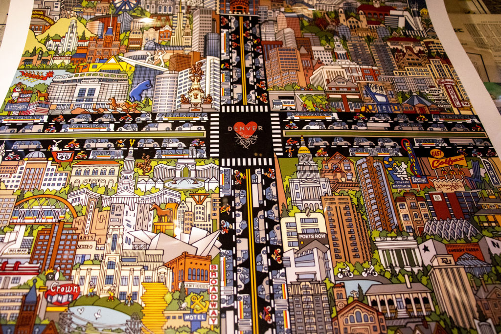 Kenny Be's map of Denver, part of Wesley Brown's prolific map collection. Dec. 16, 2019. (Kevin J. Beaty/Denverite)
