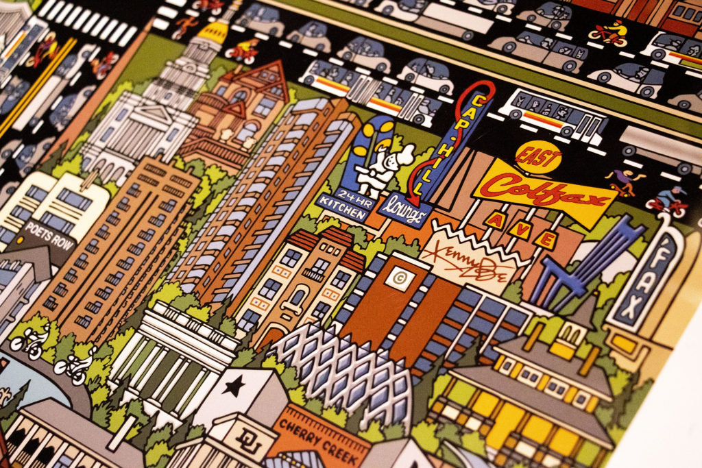 Capitol Hill featured in Kenny Be's map of Denver, part of Wesley Brown's prolific map collection. Dec. 16, 2019. (Kevin J. Beaty/Denverite)