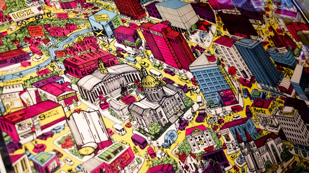 A 70s-era map of Denver in Wesley Brown's map collection. Dec. 16, 2019. (Kevin J. Beaty/Denverite)