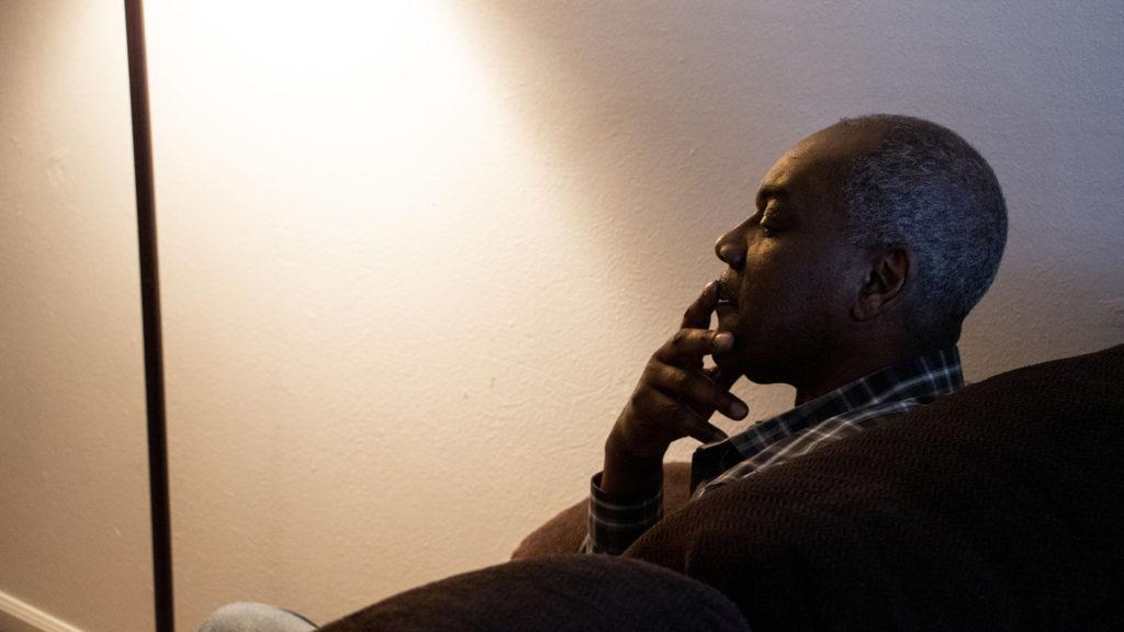 William Dawson speaks to a reporter inside his Aurora apartment, Jan. 7, 2020. (Kevin J. Beaty/Denverite)