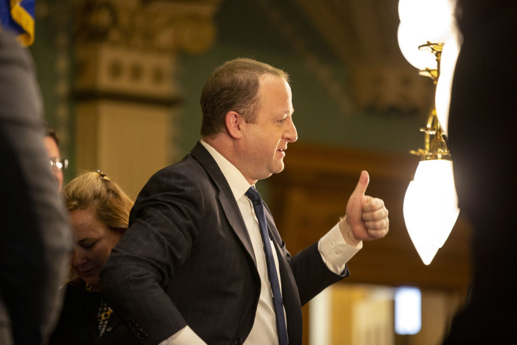 Gov. Jared Polis' prepares to make his second State of the State address. Jan. 9, 2020. (Kevin J. Beaty/Denverite)
