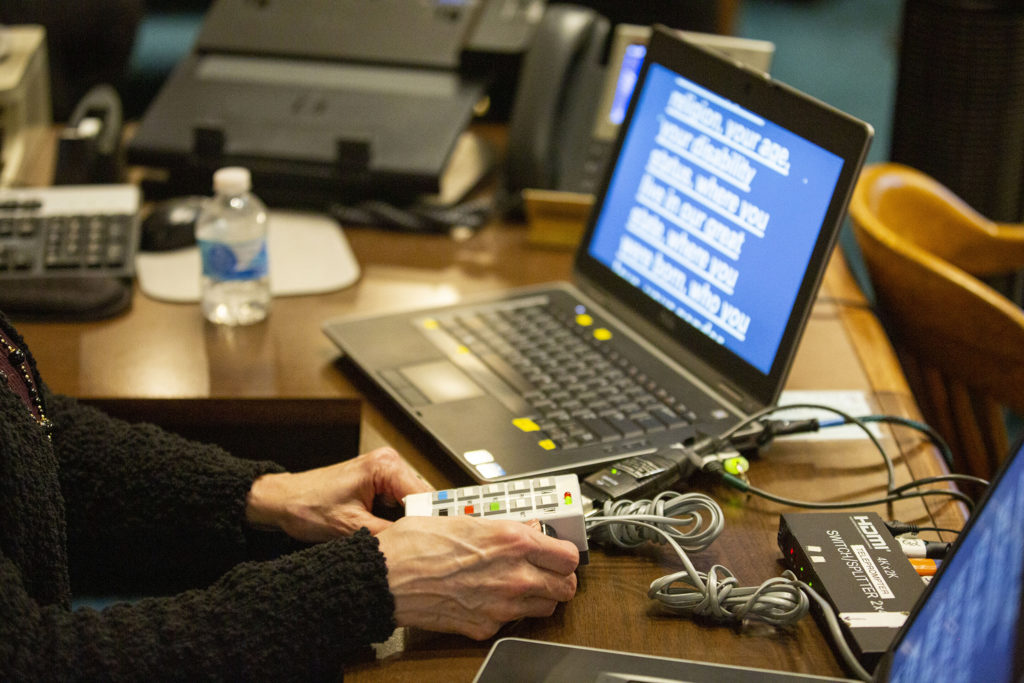 This is how they advanced the teleprompter for Gov. Jared Polis' second State of the State address. Jan. 9, 2020. (Kevin J. Beaty/Denverite)