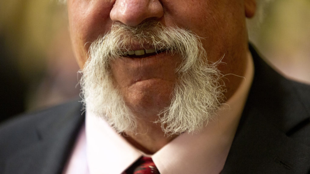 Rep. Perry Will's moustache poses for a portrait before Gov. Jared Polis' second State of the State address. Jan. 9, 2020. (Kevin J. Beaty/Denverite)