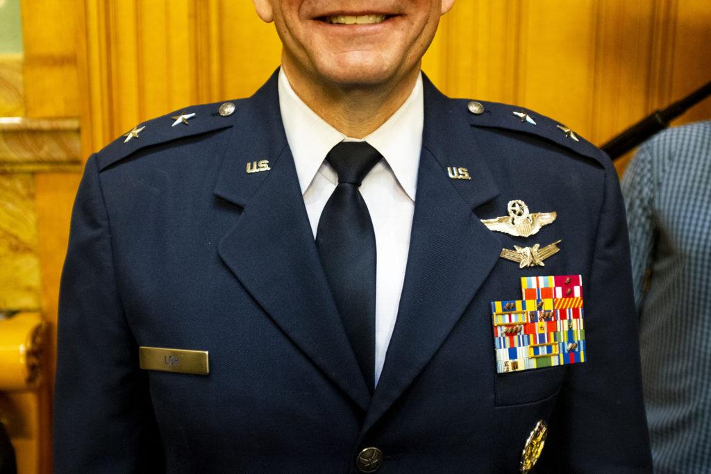 Maj. Gen. Michael Loh poses for a portrait before Gov. Jared Polis' second State of the State address. Jan. 9, 2020. (Kevin J. Beaty/Denverite)