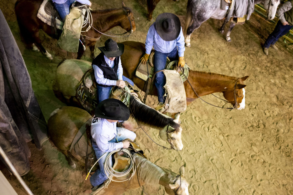 Cowboys hang out in the chute during the Invitational Ranch Rodeo event at the National Western Stock Show, Jan. 11, 2020. (Kevin J. Beaty/Denverite)