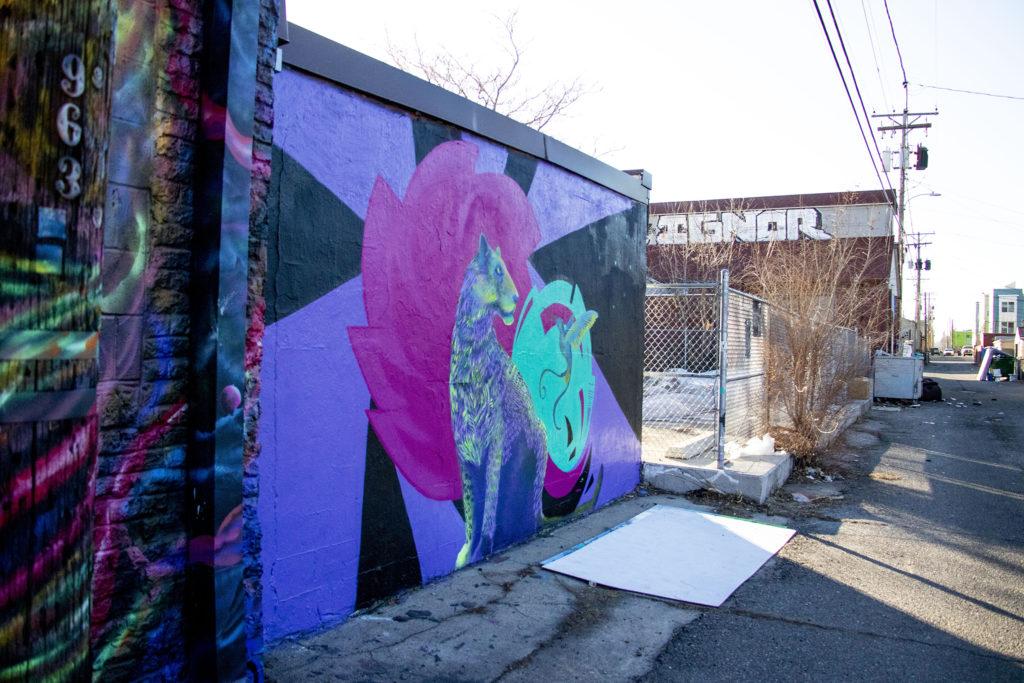 Karma Leigh's artwork art at 965 Santa Fe Drive, Jan. 14, 2020. (Kevin J. Beaty/Denverite)