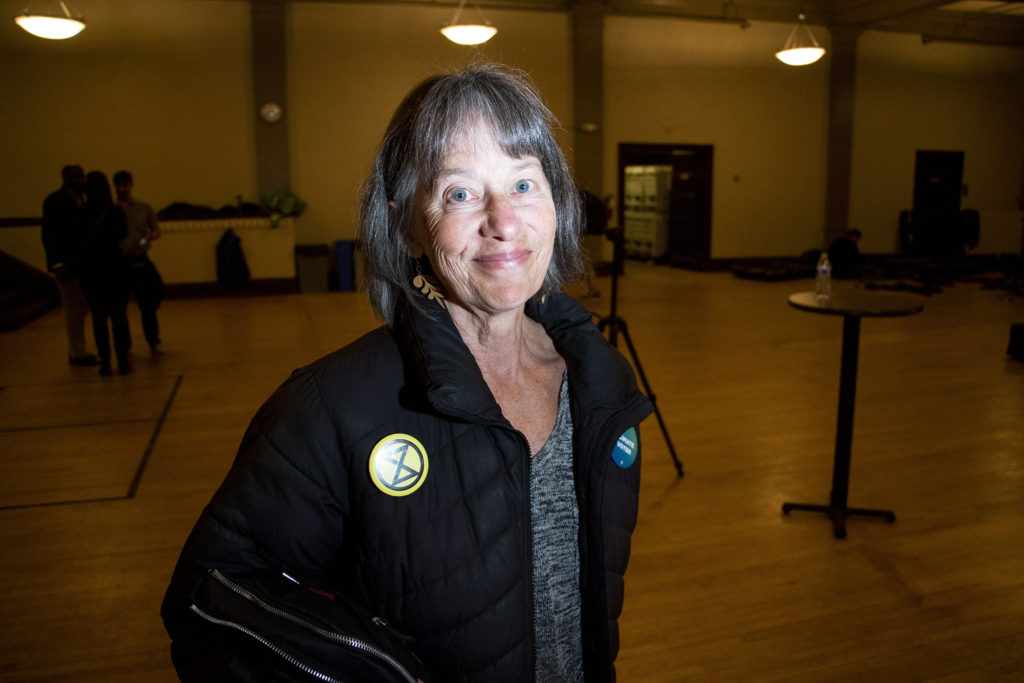 Dana Miller poses for a political rally held by Vote Common Good at Denver Community Church. Jan. 14, 2020. (Kevin J. Beaty/Denverite)